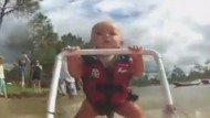 Amazing video of seven-month-old baby water skiing
