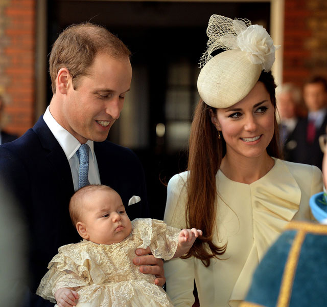 Bonny Prince George arrives for his christening - and his first appearance in three months