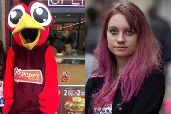 Girl dressed as chicken fought off yob with a swipe of her wing