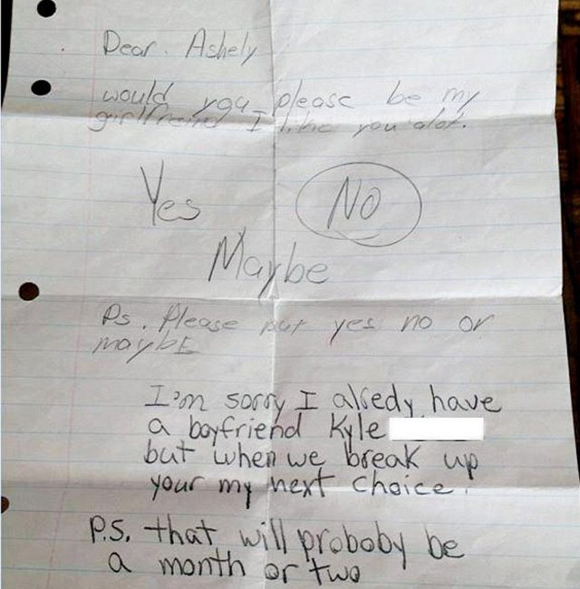 Schoolgirl gives love-struck boy hope in hilarious letter