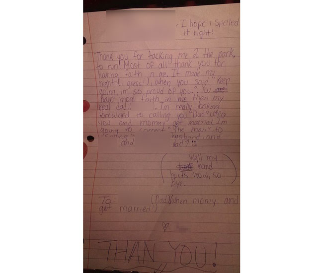 Young girl's thank you letter to mum's fiancé  sweeps internet