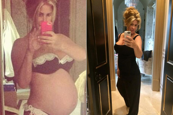 Mum-of-six reality TV star Kim Zolciak Tweets super-slim selfie nine days after giving birth to twins