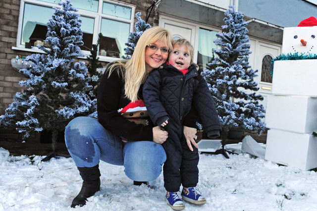 Devoted mum creates snowy winter wonderland for terminally ill son