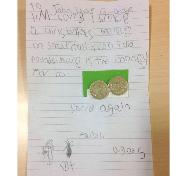 Spirit of Christmas: Girl, 5, leaves £2 and note to say sorry for breaking John Lewis bauble