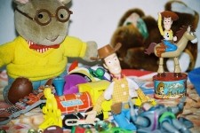 A group of assorted toys