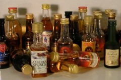 Assorted miniature liquor bottles