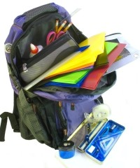 A backpack stuffed with supplies