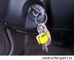 Car keys hanging from the vehicle's ignition