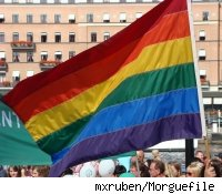 A rainbow flag symbolizing gay pride