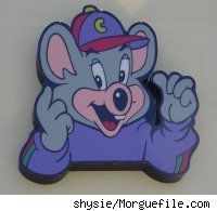 A photo of the Chuck E. Cheese mascot