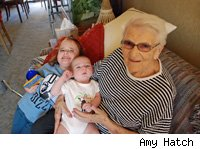 great-grandmother and grandchildren
