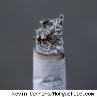 The burning end of a cigarette.
