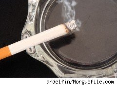 a cigarette on an ashtray