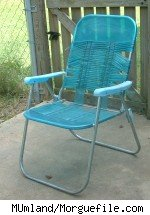 A blue lawn chair