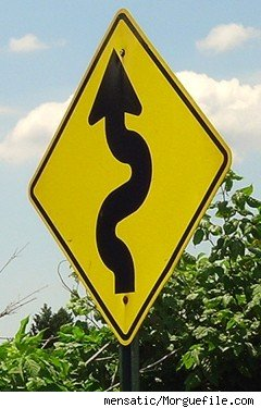 A Winding Road warning sign 