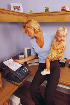 mom and baby in office