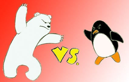 polar bear versus penguins