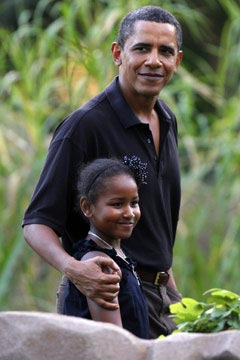 Sasha Obama and President Obama