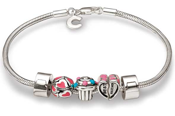 Pink Sweetheart Girls Bead Bracelet Sterling Silver Compatible