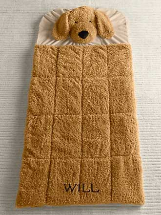 shaggy plush dog sleeping bag