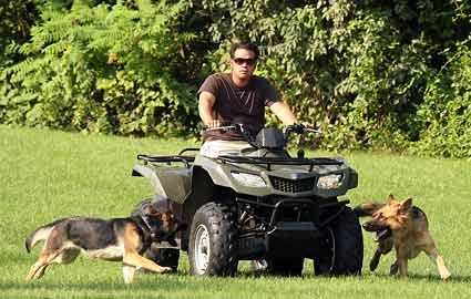 Jon Gosselin with German Shepherd dogs