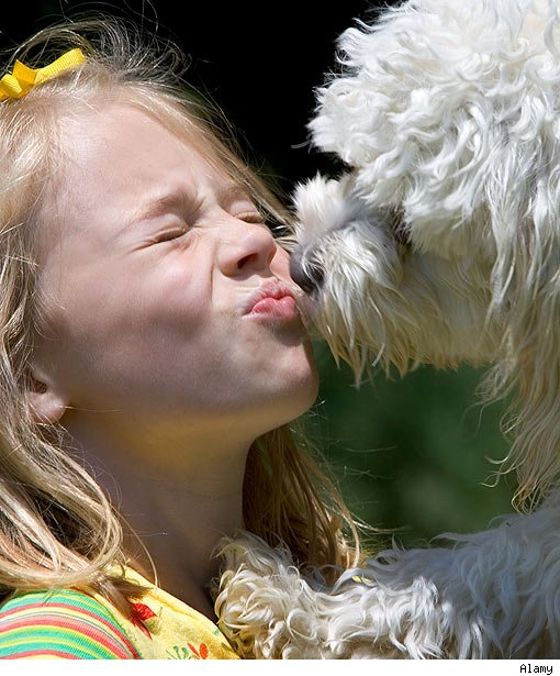 Girl Kissing Dog in the Lips