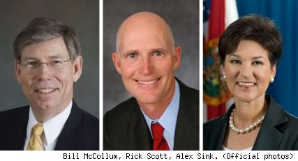 Bill McCollum, Rick Scott, Alex Sink