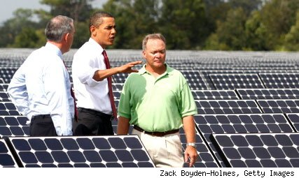 President Obama surveys solar project
