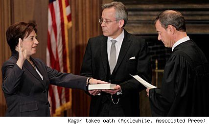 Elena Kagan sworn in as Supreme Court Justice by Chief Justice John Roberts
