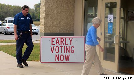 Woman going to polls in early voting