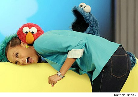Tyra Banks and Cookie Monster