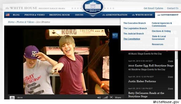 Justin Bieber Performs Live at the White House