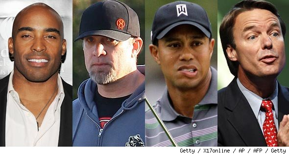 Tiki Barber, Jesse James, Tiger Woods, John Edwards