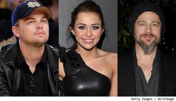 Leonardo DiCaprio, Miley Cyrus and Brad Pitt