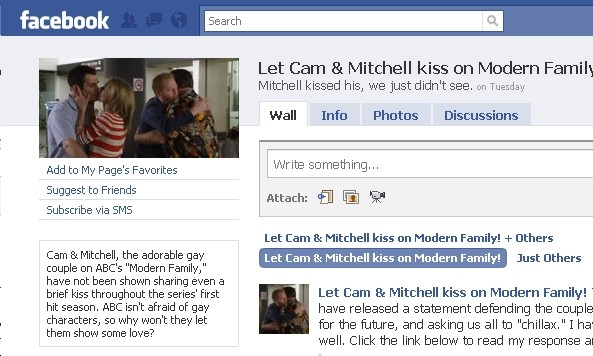 Let Cameron and Mitchell Kiss on Modern Family Facebook