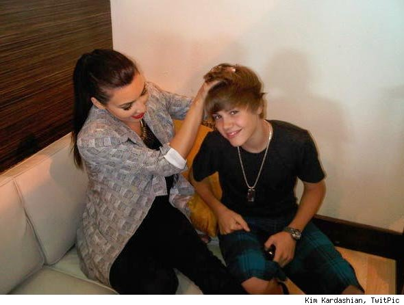 Kim Kardashian Messes Up Justin Bieber's Hair