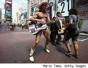 Naked Cowboy's Manager: 'Naked Cowgirl Is Basically a Criminal'