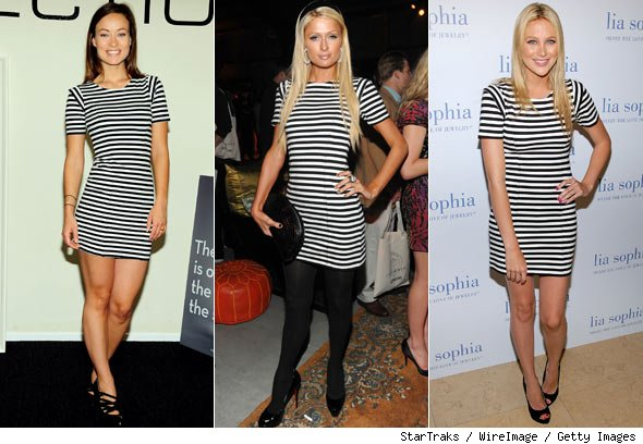 Olivia Wilde, Paris Hilton and Stephanie Pratt Stripes