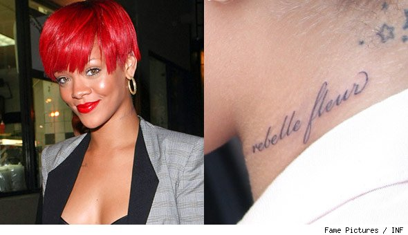 Rihanna New Neck Tattoo Photos