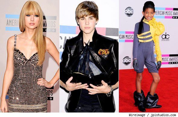 Taylor Swift, Justin Bieber and Willow Smith at the American Music Awards