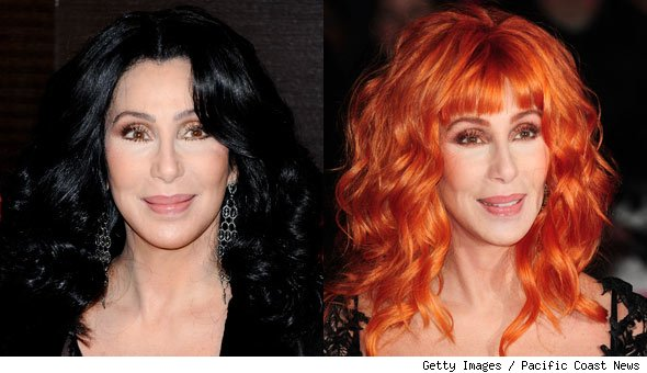 Cher Shows Off Hot Red Hair in Europe
