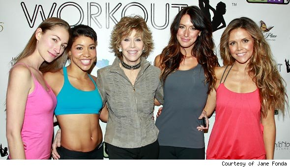 Jane Fonda workout team