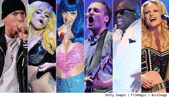 Eminem, Lady Gaga, Katy Perry, Arcade Fire, Cee Lo Green and Miranda Lambert