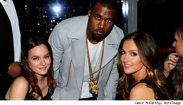 Leighton Meester, Kanye West and Minka Kelly at Nylon Magazine Party
