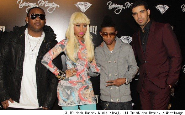 Mack Maine, Nicki Minaj, Lil Twist and Drake attends the Cash Money Records Annual Pre-GRAMMY Party at The Lot.