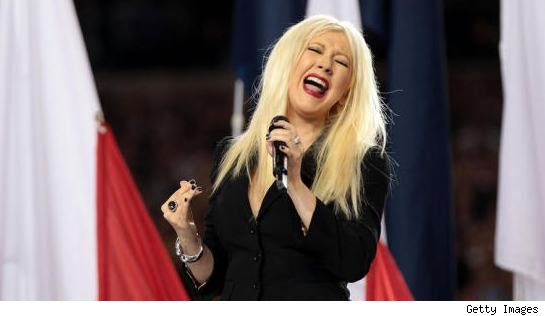 Christina Aguilera Botches The National Anthem Before The Super Bowl Kickoff