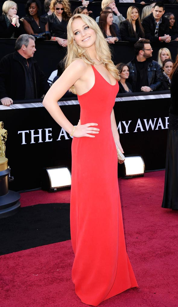 Jennifer Lawrence Red Calvin Klein Oscars Red Carpet Photos