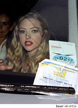 Sweet Amanda Seyfried Throws Parking Ticket at London Traffic Cop