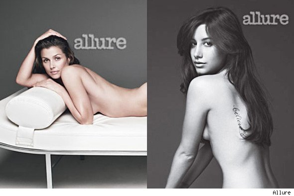 Ashley Tisdale, Bridget Moynahan Strip for Allure's Naked Issue