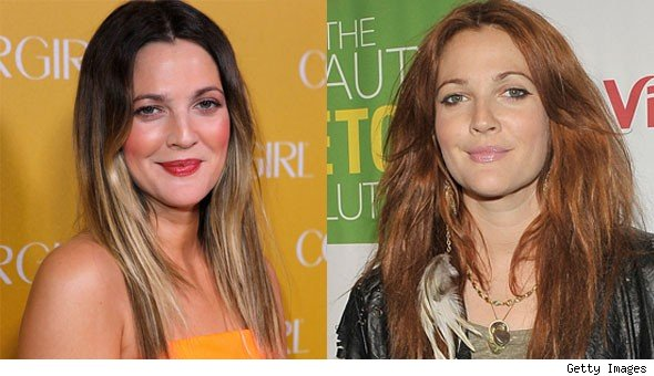 drew barrymore red hair. Drew Barrymore has dyed her